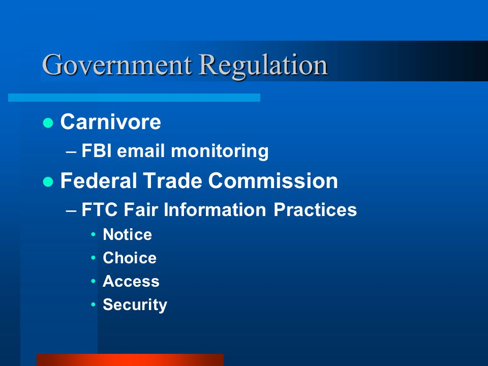 Government Regulation Carnivore –FBI email monitoring Federal Trade Commission –FTC Fair Information Practices Notice Choice Access Security