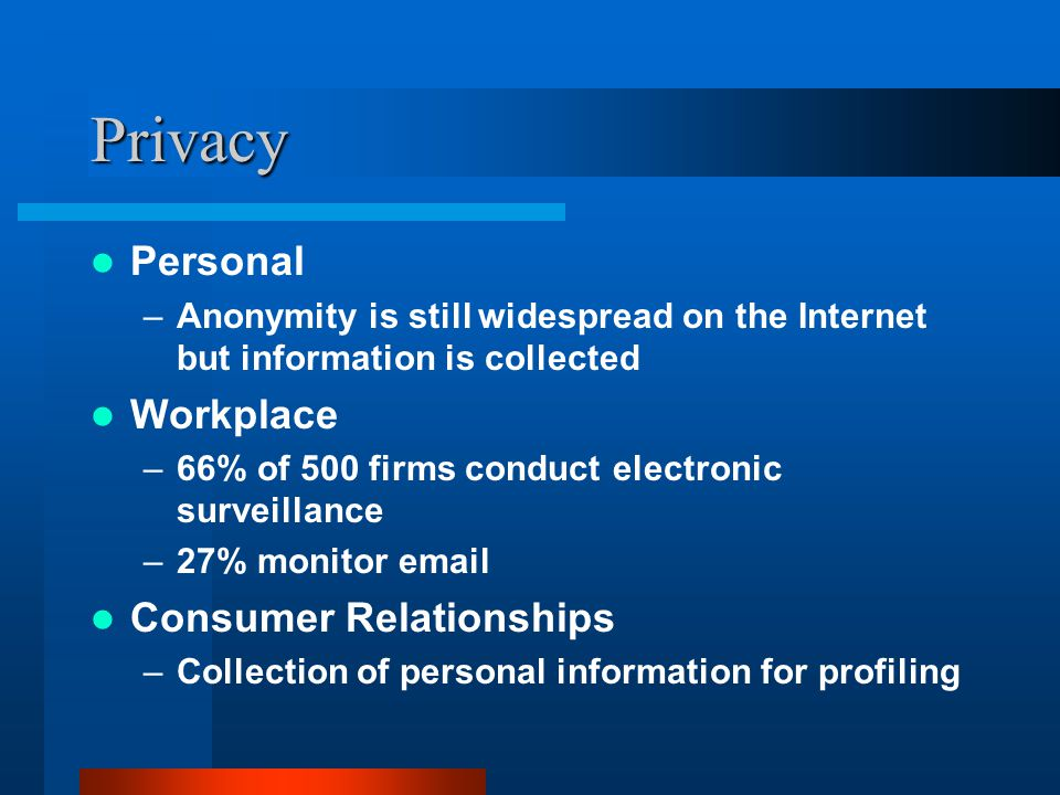 Privacy Personal –Anonymity is still widespread on the Internet but information is collected Workplace –66% of 500 firms conduct electronic surveillance –27% monitor email Consumer Relationships –Collection of personal information for profiling