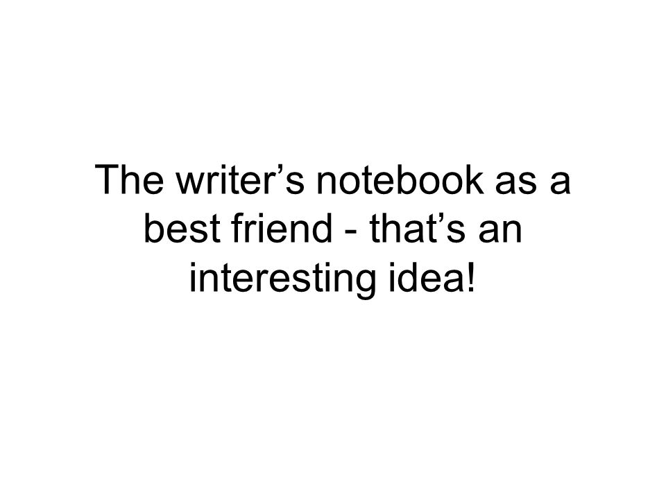The writer's notebook as a best friend - that's an interesting idea!