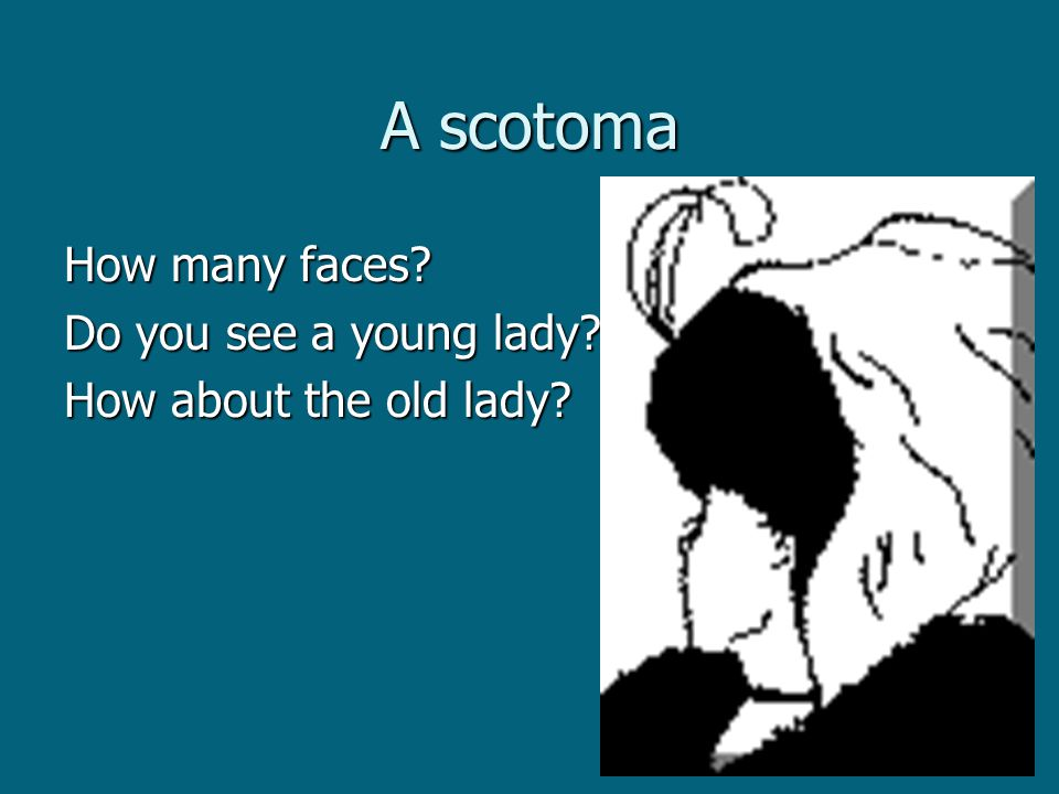A scotoma How many faces Do you see a young lady How about the old lady