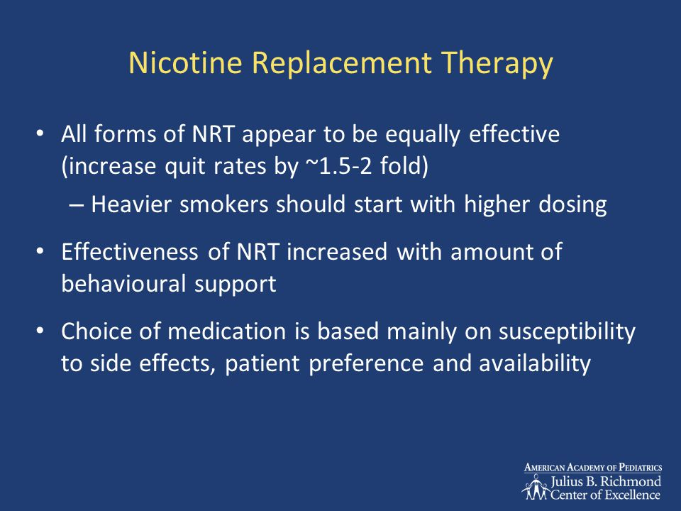 Nicotine Replacement Therapy All forms of NRT appear to be equally effective (increase quit rates by ~1.5-2 fold) – Heavier smokers should start with higher dosing Effectiveness of NRT increased with amount of behavioural support Choice of medication is based mainly on susceptibility to side effects, patient preference and availability