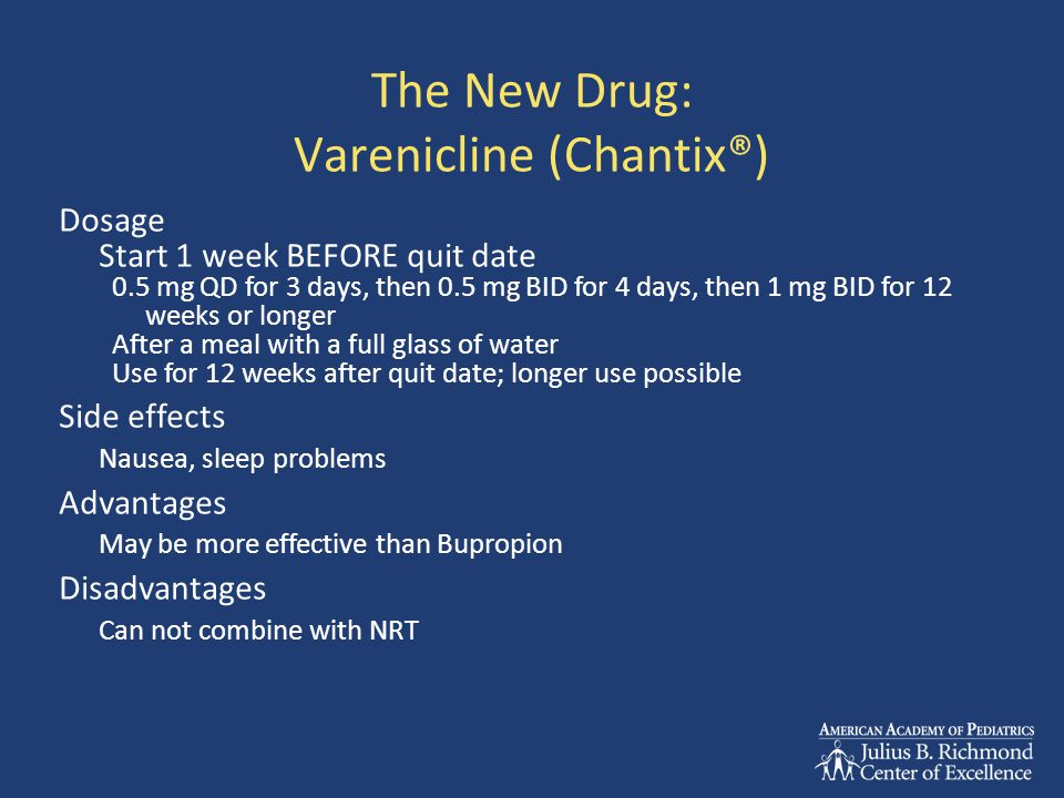 The New Drug: Varenicline (Chantix®) Dosage Start 1 week BEFORE quit date 0.5 mg QD for 3 days, then 0.5 mg BID for 4 days, then 1 mg BID for 12 weeks or longer After a meal with a full glass of water Use for 12 weeks after quit date; longer use possible Side effects Nausea, sleep problems Advantages May be more effective than Bupropion Disadvantages Can not combine with NRT