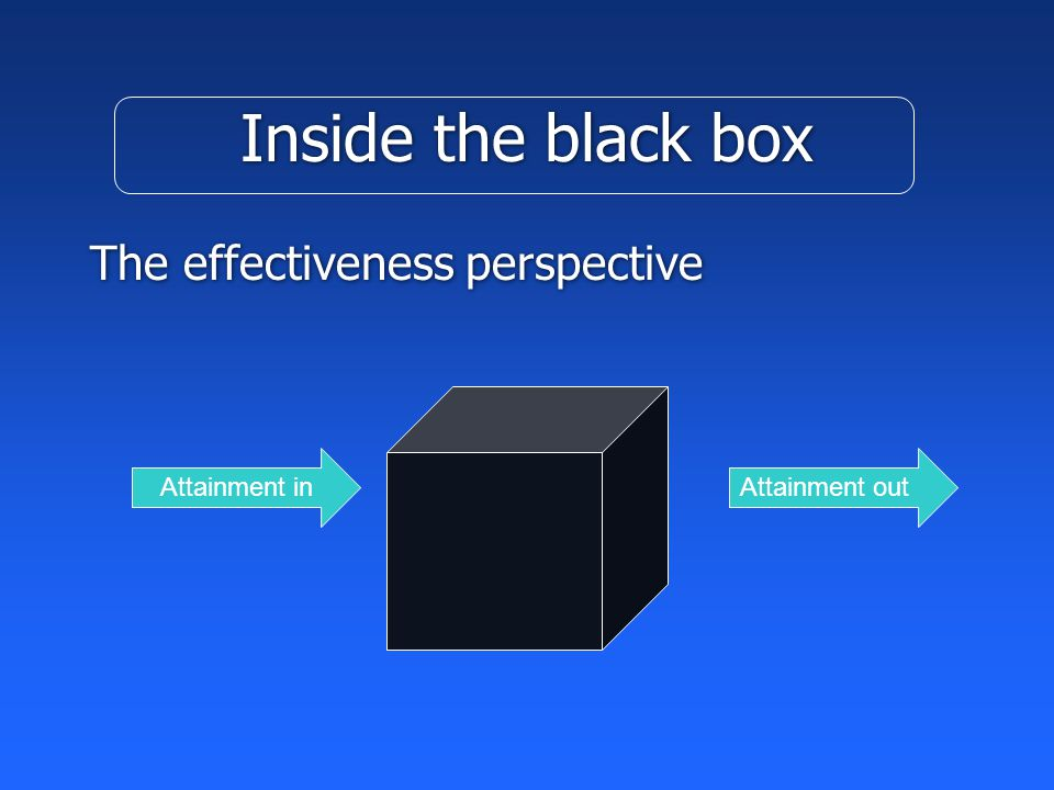 Inside the black box The effectiveness perspective Attainment inAttainment out