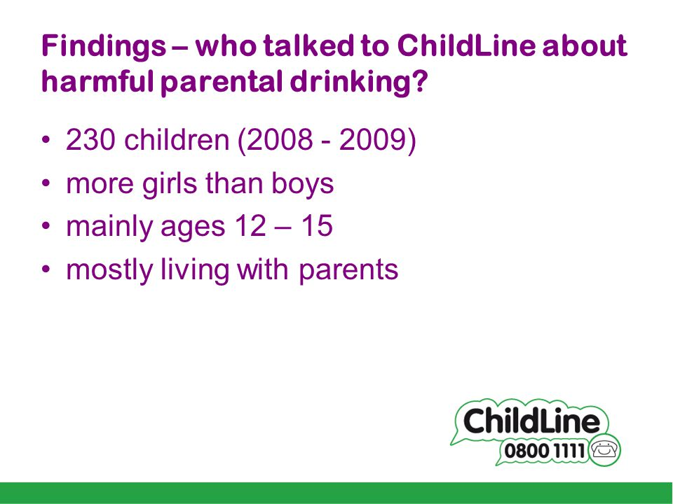 Findings – who talked to ChildLine about harmful parental drinking.