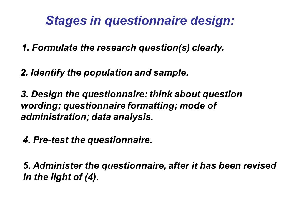 Stages in questionnaire design: 5.