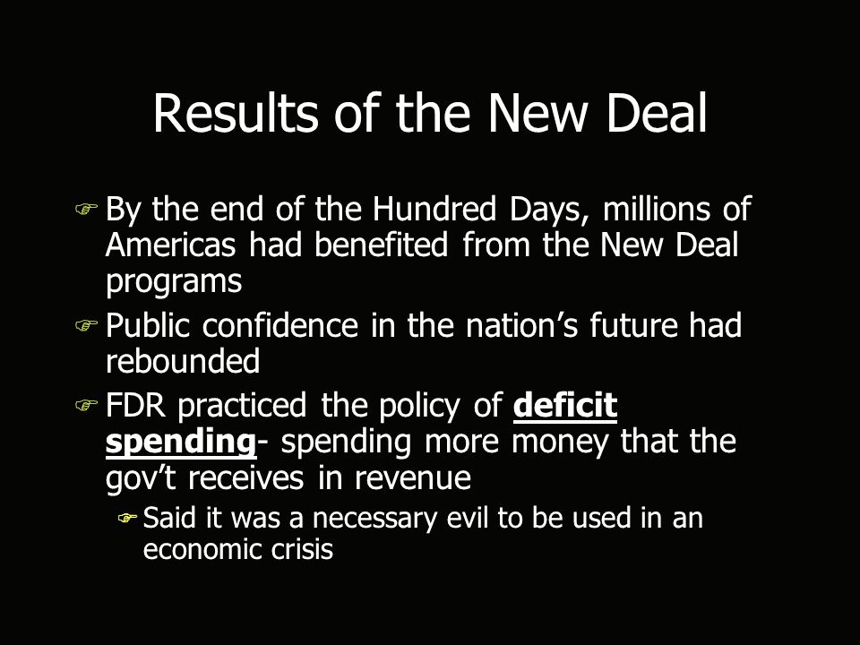 Results of the New Deal F By the end of the Hundred Days, millions of Americas had benefited from the New Deal programs F Public confidence in the nation's future had rebounded F FDR practiced the policy of deficit spending- spending more money that the gov't receives in revenue F Said it was a necessary evil to be used in an economic crisis F By the end of the Hundred Days, millions of Americas had benefited from the New Deal programs F Public confidence in the nation's future had rebounded F FDR practiced the policy of deficit spending- spending more money that the gov't receives in revenue F Said it was a necessary evil to be used in an economic crisis