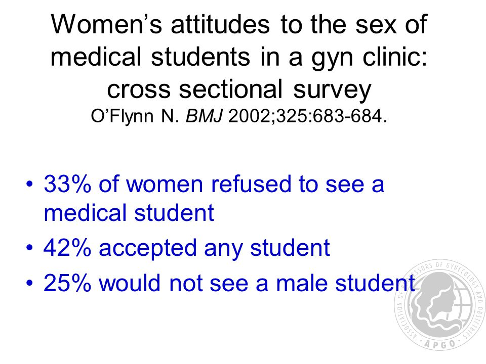 Women's attitudes to the sex of medical students in a gyn clinic: cross sectional survey O'Flynn N.