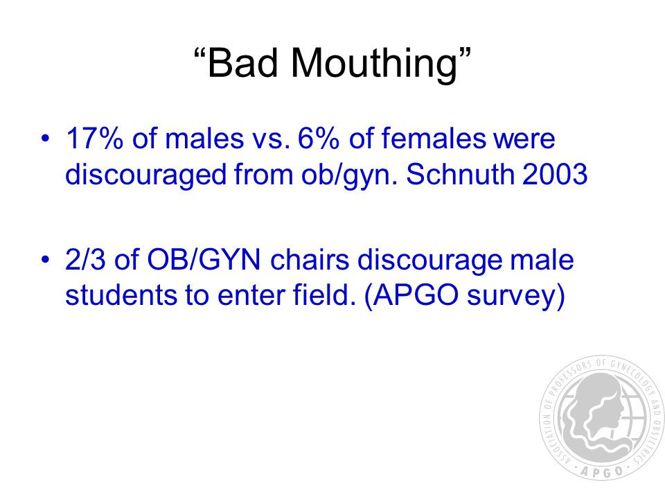 Bad Mouthing 17% of males vs. 6% of females were discouraged from ob/gyn.