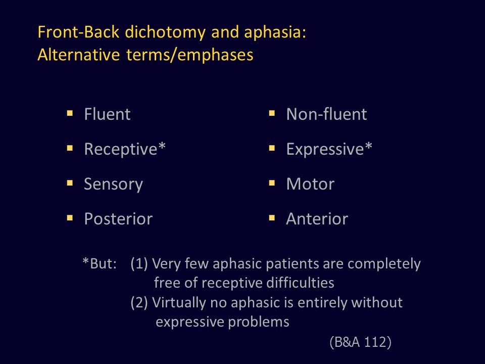Front-Back dichotomy and aphasia: Alternative terms/emphases  Fluent  Receptive*  Sensory  Posterior  Non-fluent  Expressive*  Motor  Anterior *But:(1) Very few aphasic patients are completely free of receptive difficulties (2) Virtually no aphasic is entirely without expressive problems (B&A 112)