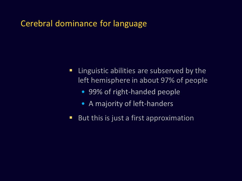 Cerebral dominance for language  Linguistic abilities are subserved by the left hemisphere in about 97% of people 99% of right-handed people A majority of left-handers  But this is just a first approximation