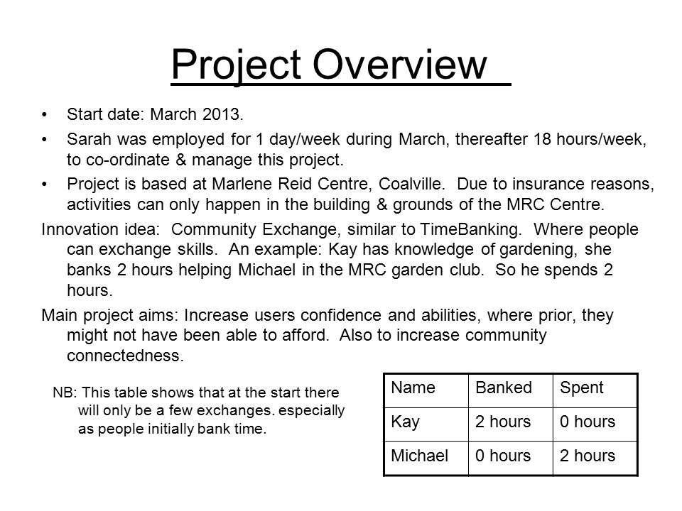 Project Overview Start date: March 2013.