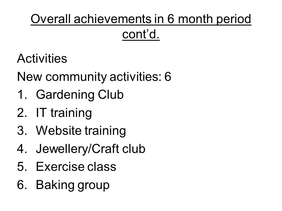 Overall achievements in 6 month period cont'd.