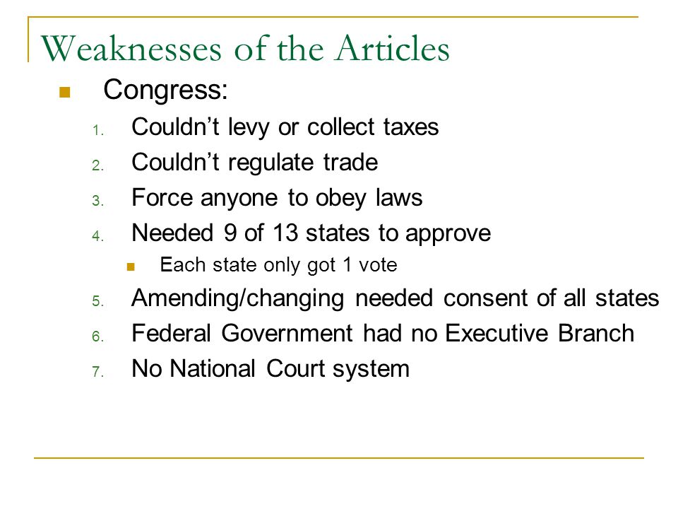 Weaknesses of the Articles Congress: 1. Couldn't levy or collect taxes 2.