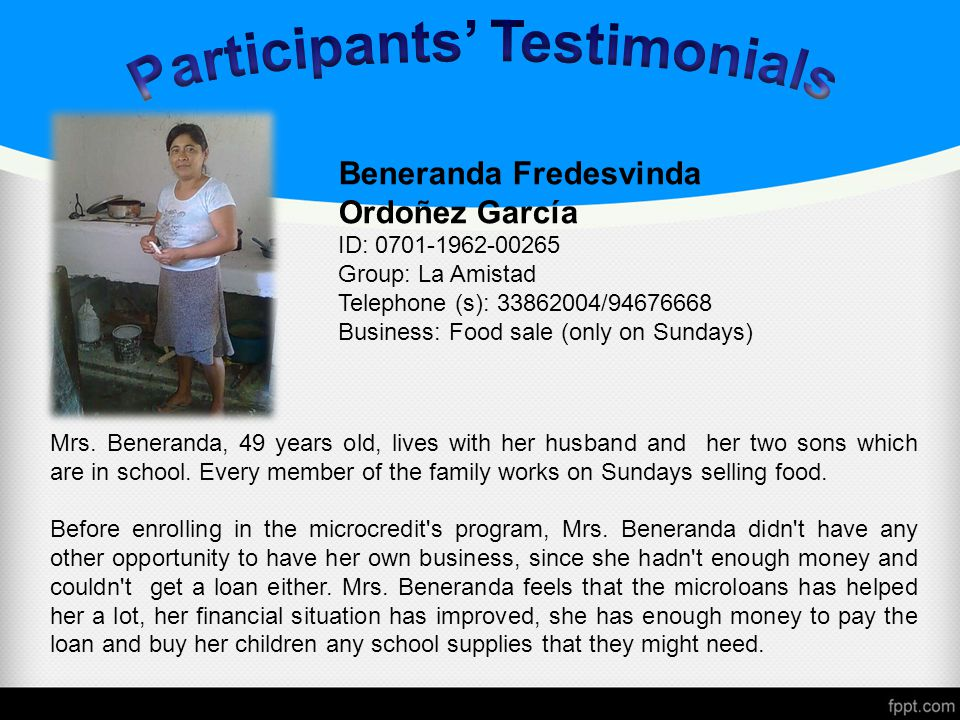 Mrs. Beneranda, 49 years old, lives with her husband and her two sons which are in school.