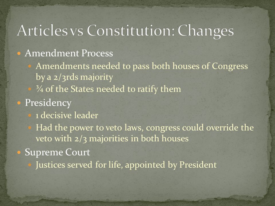 Amendment Process Amendments needed to pass both houses of Congress by a 2/3rds majority ¾ of the States needed to ratify them Presidency 1 decisive leader Had the power to veto laws, congress could override the veto with 2/3 majorities in both houses Supreme Court Justices served for life, appointed by President