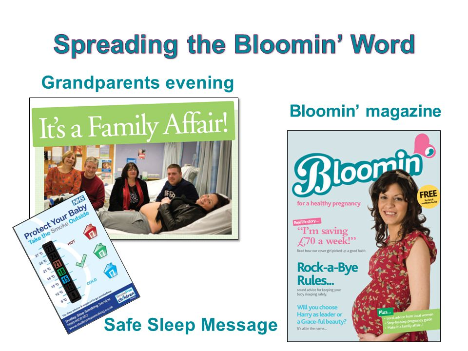 Bloomin' magazine Grandparents evening Safe Sleep Message