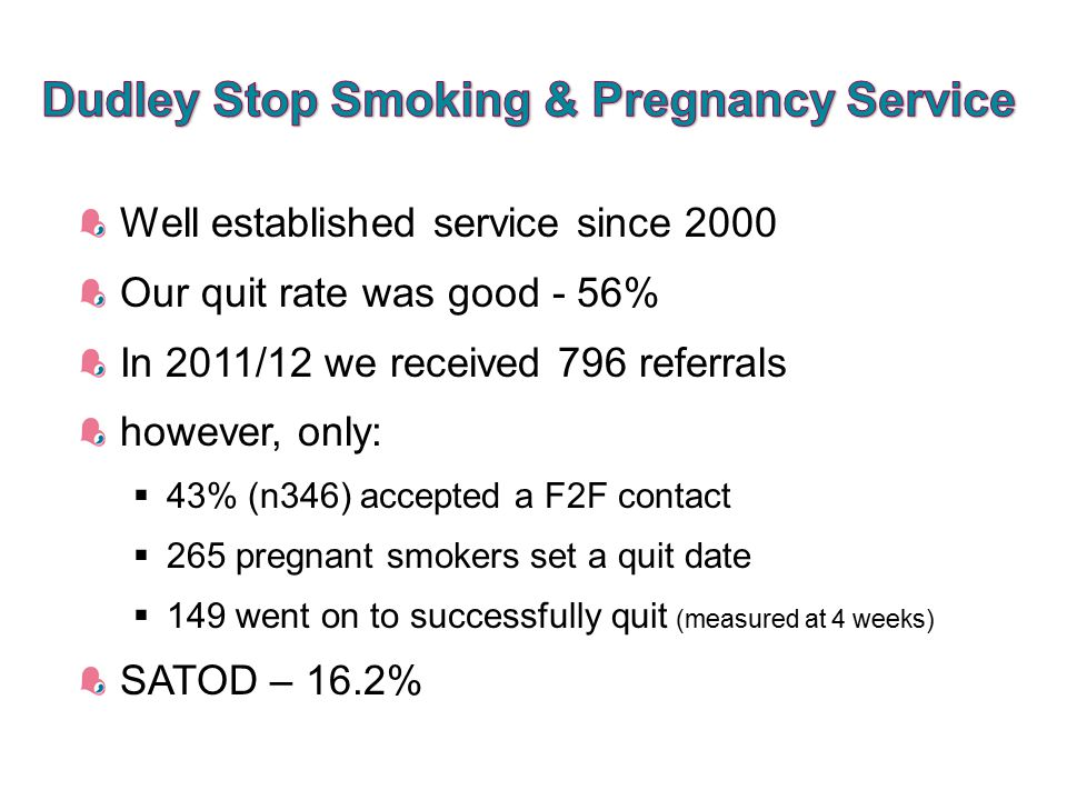 Well established service since 2000 Our quit rate was good - 56% In 2011/12 we received 796 referrals however, only:  43% (n346) accepted a F2F contact  265 pregnant smokers set a quit date  149 went on to successfully quit (measured at 4 weeks) SATOD – 16.2%