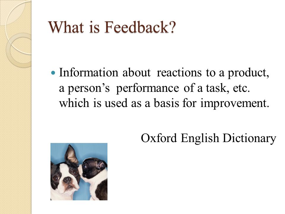 What is Feedback. Information about reactions to a product, a person's performance of a task, etc.