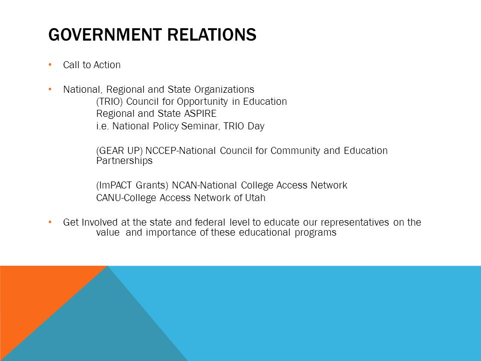 GOVERNMENT RELATIONS Call to Action National, Regional and State Organizations (TRIO) Council for Opportunity in Education Regional and State ASPIRE i.e.