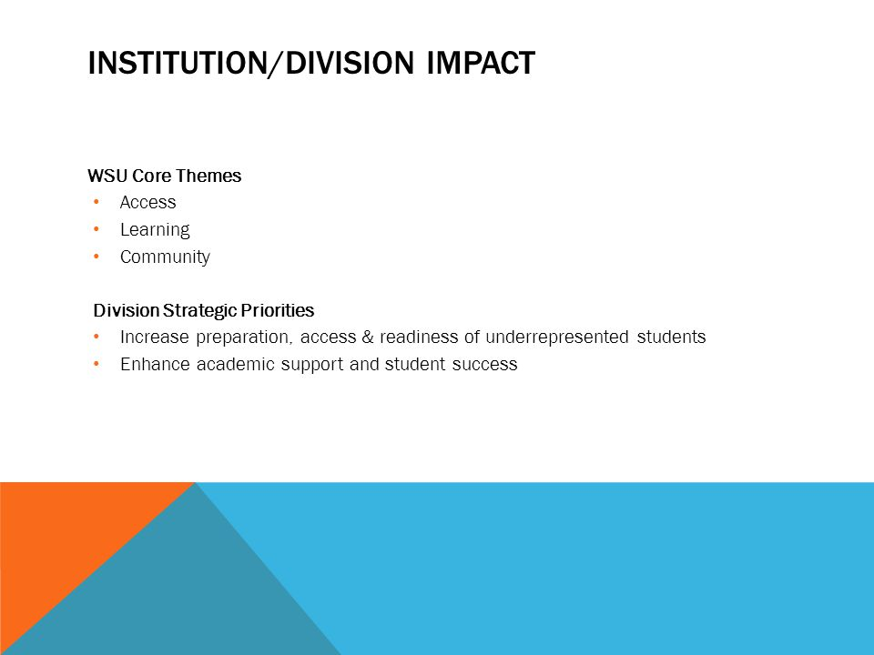 INSTITUTION/DIVISION IMPACT WSU Core Themes Access Learning Community Division Strategic Priorities Increase preparation, access & readiness of underrepresented students Enhance academic support and student success