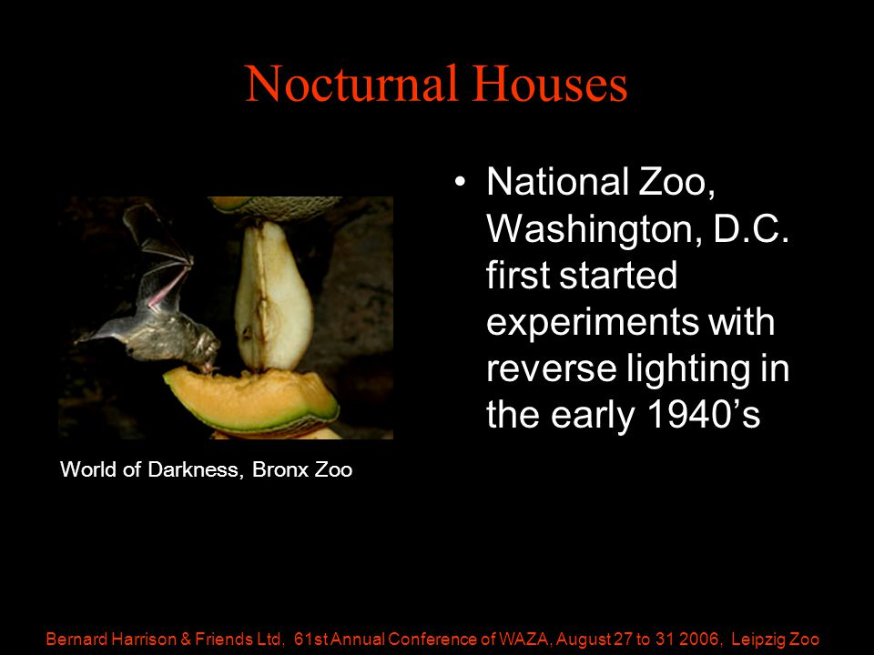 Bernard Harrison & Friends Ltd, 61st Annual Conference of WAZA, August 27 to 31 2006, Leipzig Zoo Nocturnal Houses National Zoo, Washington, D.C.