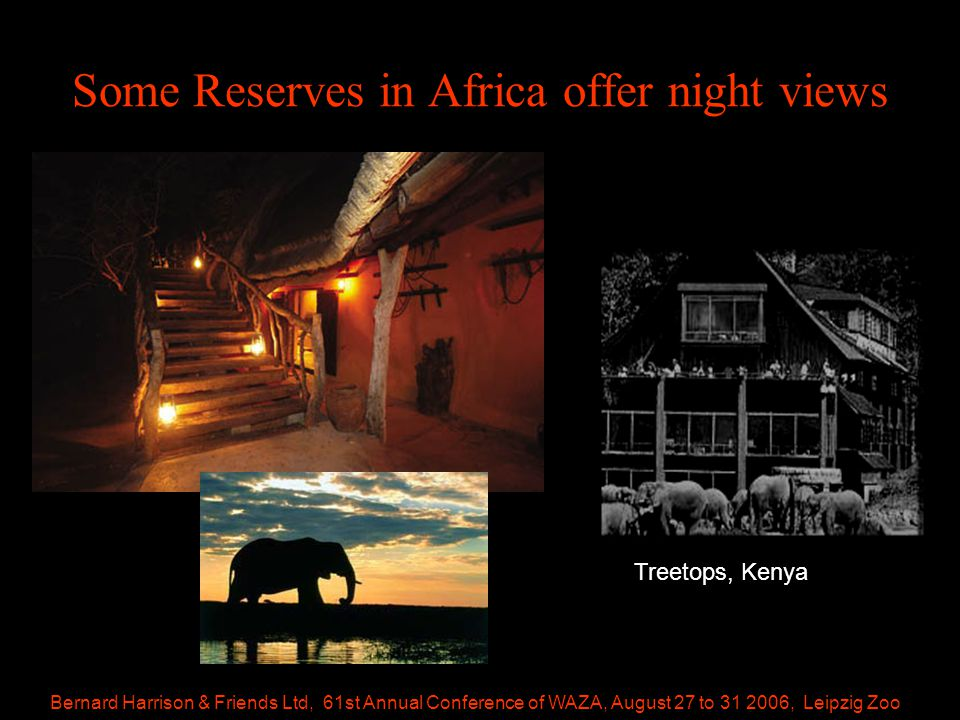 Bernard Harrison & Friends Ltd, 61st Annual Conference of WAZA, August 27 to 31 2006, Leipzig Zoo Some Reserves in Africa offer night views Treetops, Kenya