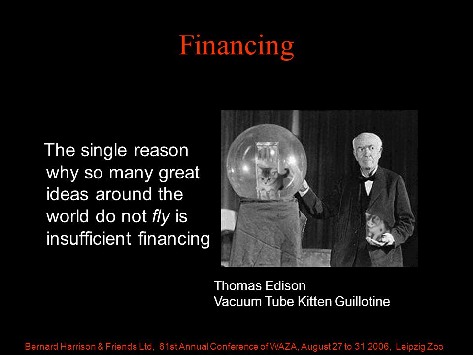 Bernard Harrison & Friends Ltd, 61st Annual Conference of WAZA, August 27 to 31 2006, Leipzig Zoo Financing The single reason why so many great ideas around the world do not fly is insufficient financing Thomas Edison Vacuum Tube Kitten Guillotine