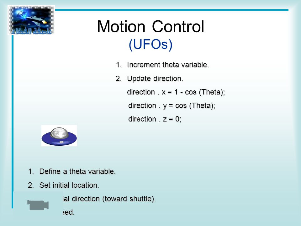 1.Increment theta variable. 2.Update direction. direction.