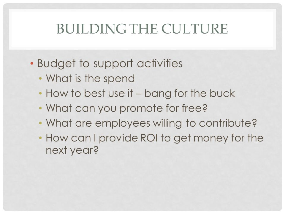 BUILDING THE CULTURE Budget to support activities What is the spend How to best use it – bang for the buck What can you promote for free.
