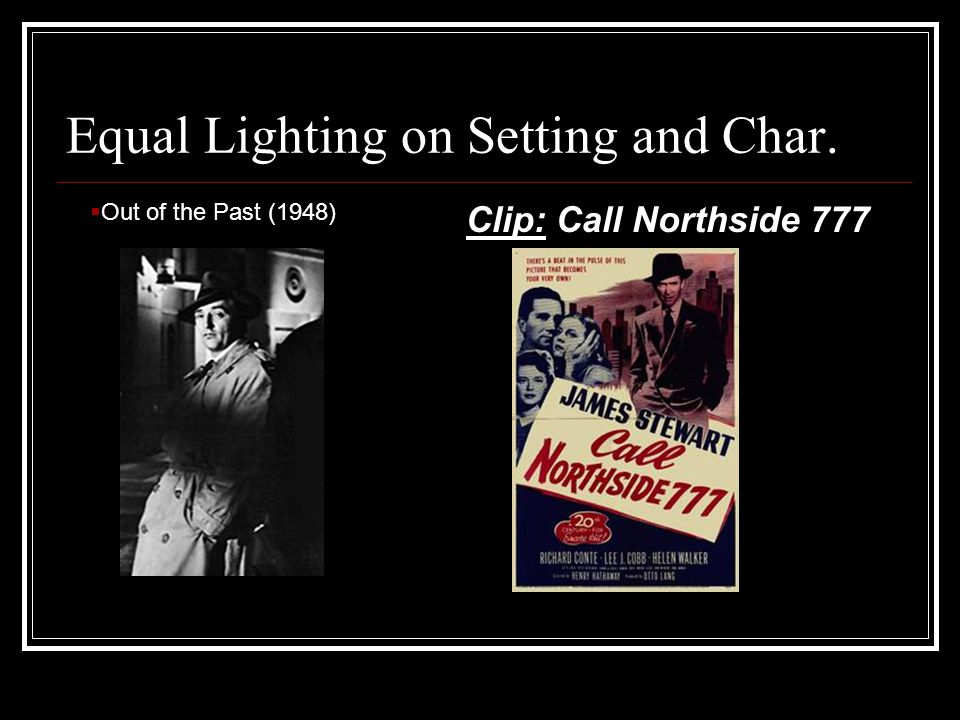 Equal Lighting on Setting and Char. Clip: Call Northside 777  Out of the Past (1948)