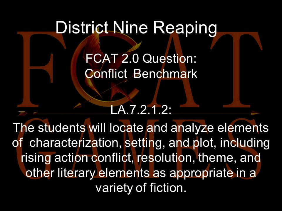 The previous excerpt is an example of: a.Flashback b.Internal conflict c.Resolution d.External conflict District Nine Reaping