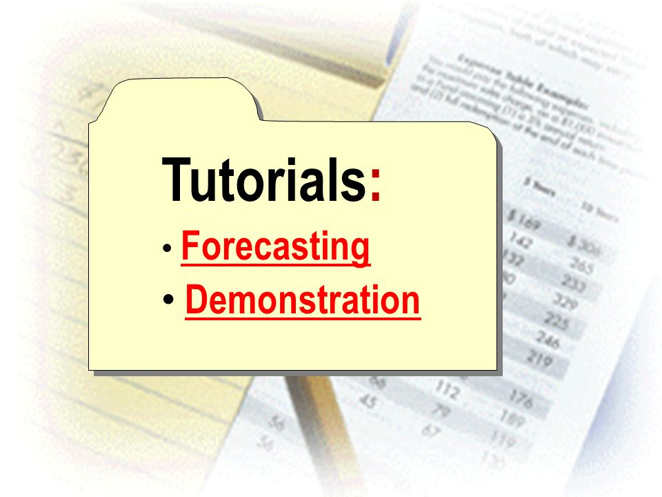 Tutorials: Forecasting Demonstration