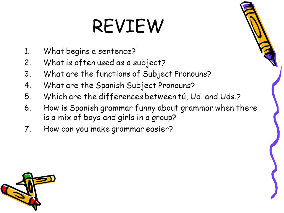 REVIEW 1.What begins a sentence. 2.What is often used as a subject.