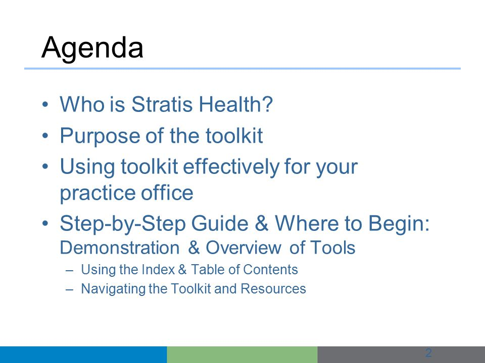 Agenda Who is Stratis Health.