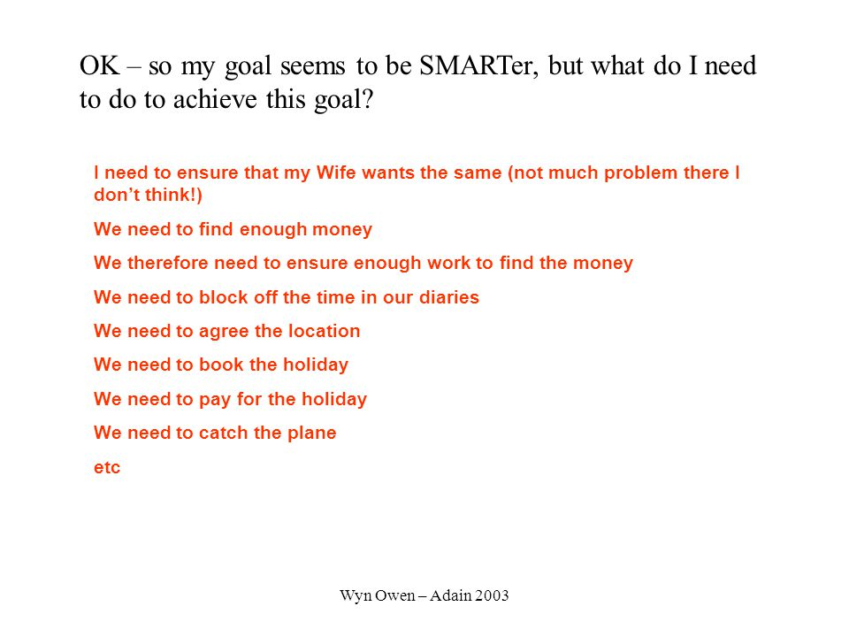 Wyn Owen – Adain 2003 OK – so my goal seems to be SMARTer, but what do I need to do to achieve this goal.