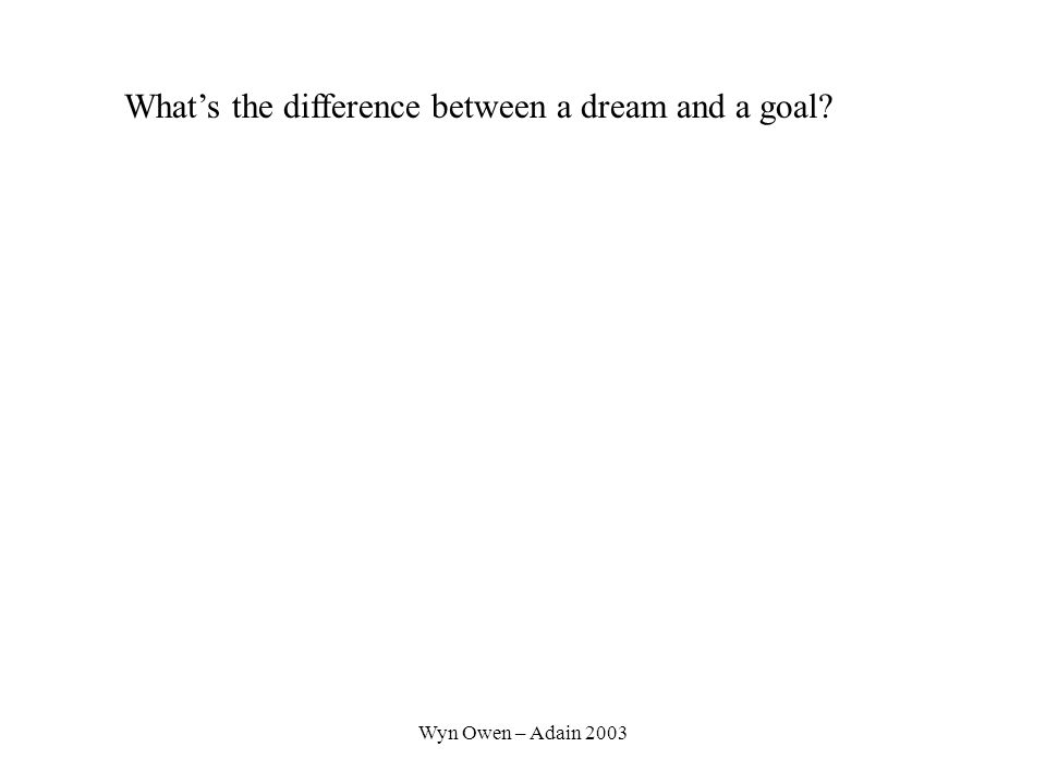 Wyn Owen – Adain 2003 What's the difference between a dream and a goal