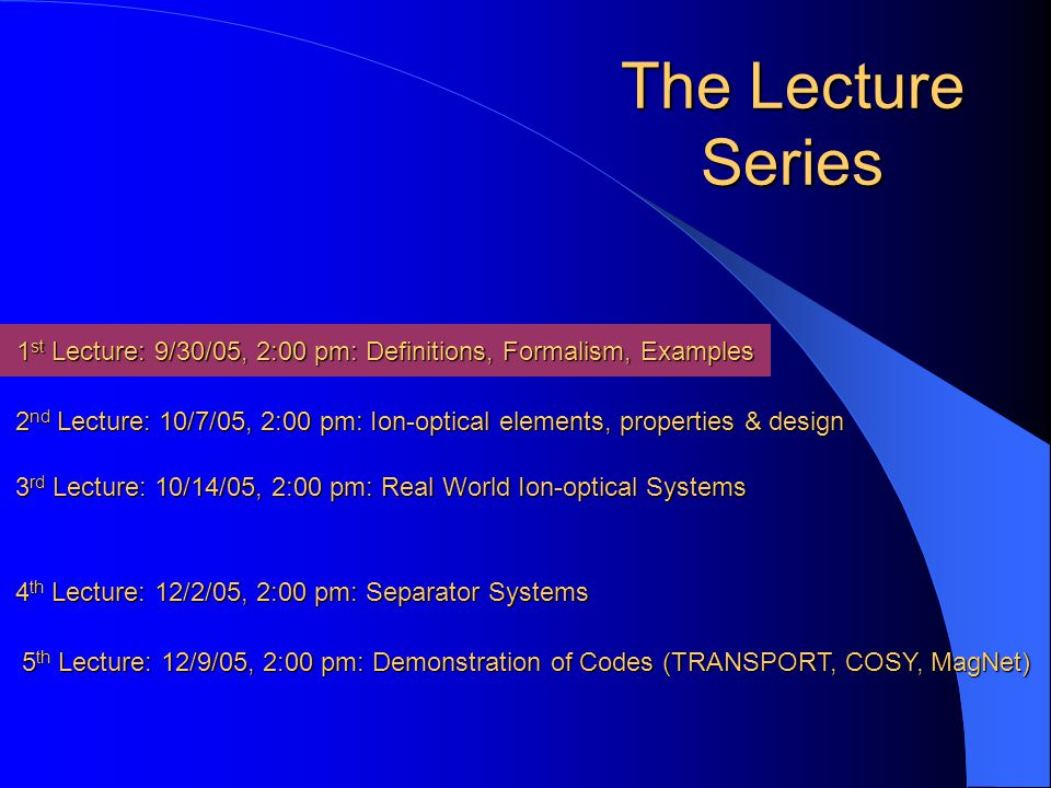 An Introduction to Ion-Optics Series of Five Lectures JINA, University of Notre Dame Sept.