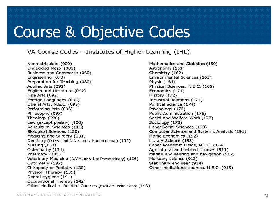 VETERANS BENEFITS ADMINISTRATION Course & Objective Codes 23