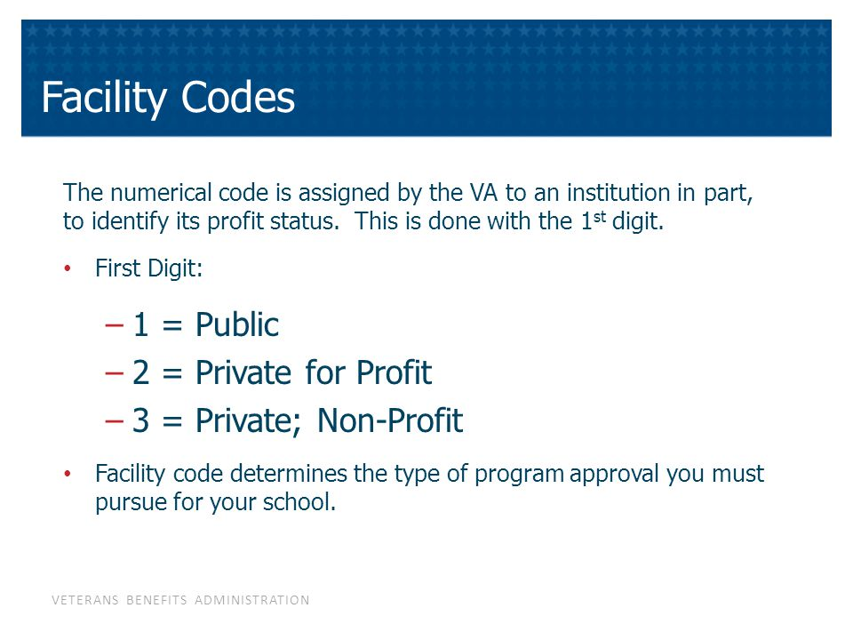 VETERANS BENEFITS ADMINISTRATION Facility Codes The numerical code is assigned by the VA to an institution in part, to identify its profit status.