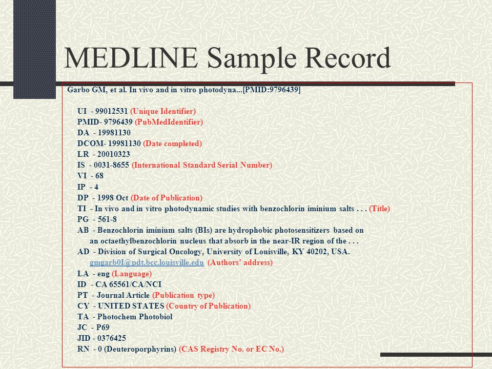 MEDLINE Sample Record Garbo GM, et al.