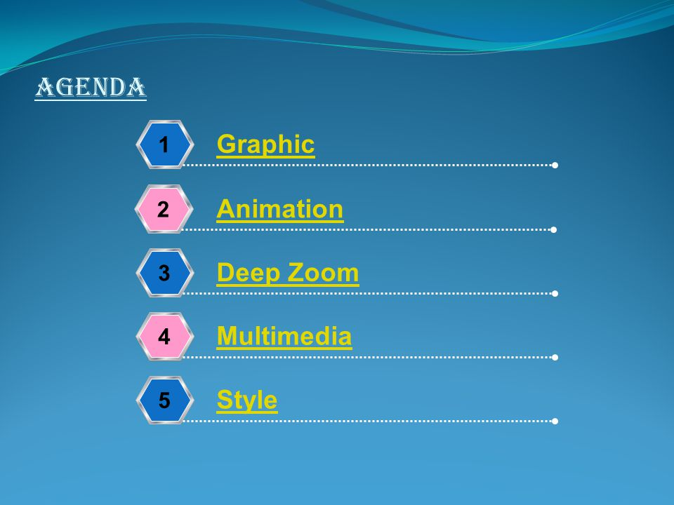 AGENDA 1234 Graphic Animation Deep Zoom Multimedia 5 Style