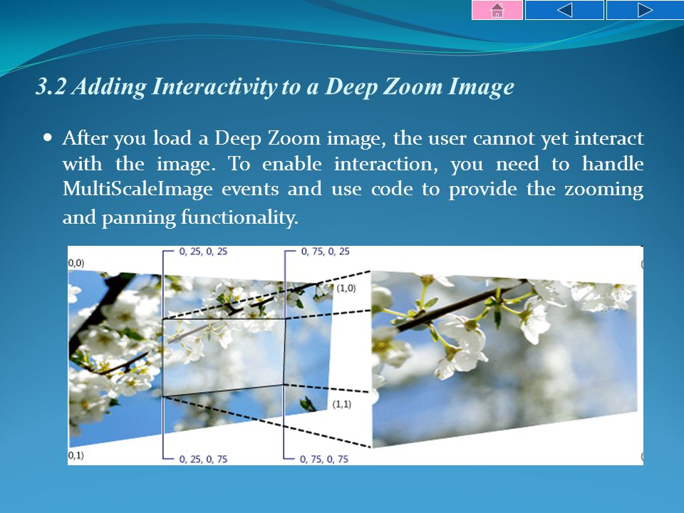 3.2 Adding Interactivity to a Deep Zoom Image After you load a Deep Zoom image, the user cannot yet interact with the image.