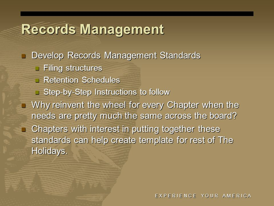 E X P E R I E N C E Y O U R A M E R I C A Records Management Develop Records Management Standards Develop Records Management Standards Filing structures Filing structures Retention Schedules Retention Schedules Step-by-Step Instructions to follow Step-by-Step Instructions to follow Why reinvent the wheel for every Chapter when the needs are pretty much the same across the board.