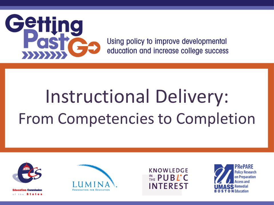 Instructional Delivery: From Competencies to Completion