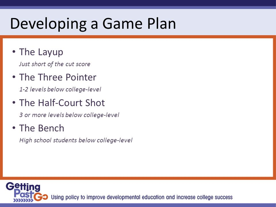 Developing a Game Plan The Layup Just short of the cut score The Three Pointer 1-2 levels below college-level The Half-Court Shot 3 or more levels below college-level The Bench High school students below college-level