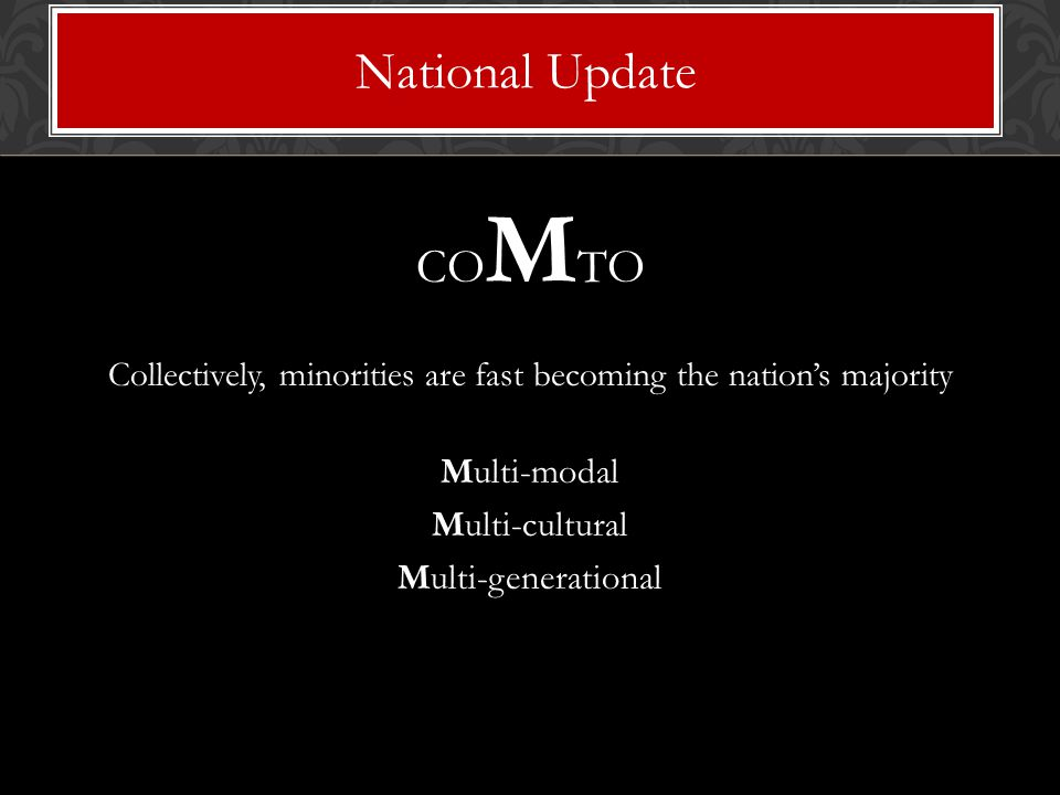 CO M TO Collectively, minorities are fast becoming the nation's majority Multi-modal Multi-cultural Multi-generational National Update