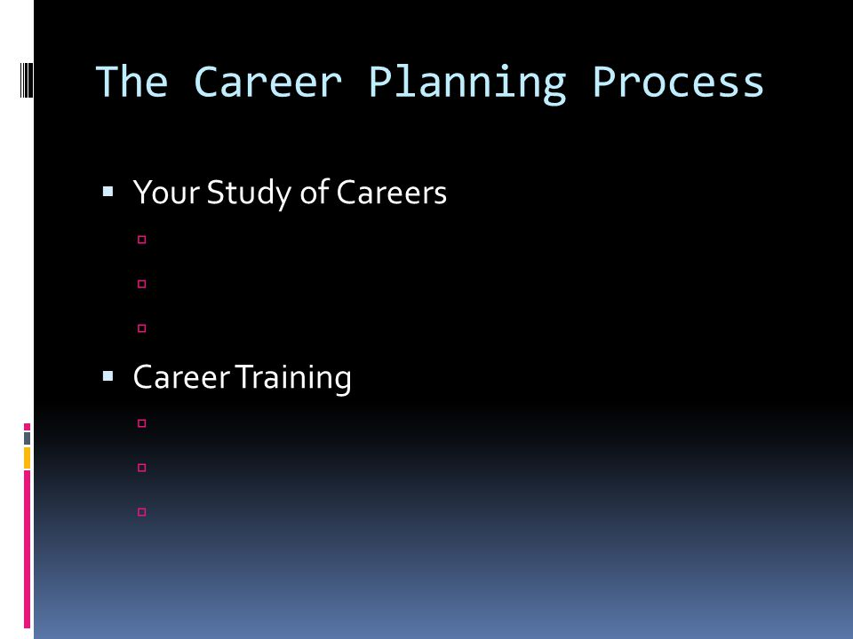 The Career Planning Process  Your Study of Careers   Career Training 