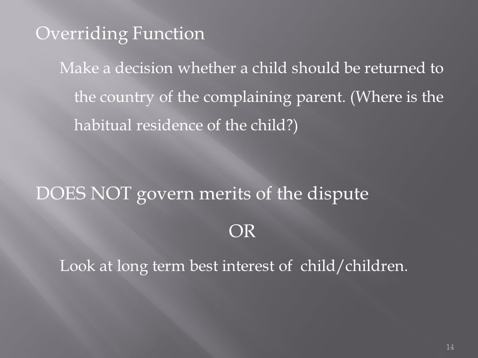 Overriding Function Make a decision whether a child should be returned to the country of the complaining parent.