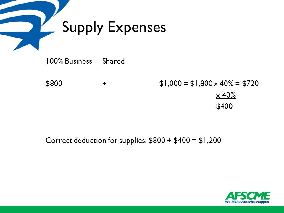 Supply Expenses 100% BusinessShared $800+$1,000 = $1,800 x 40% = $720 x 40% $400 Correct deduction for supplies: $800 + $400 = $1,200