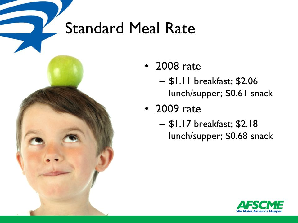 Standard Meal Rate 2008 rate –$1.11 breakfast; $2.06 lunch/supper; $0.61 snack 2009 rate –$1.17 breakfast; $2.18 lunch/supper; $0.68 snack